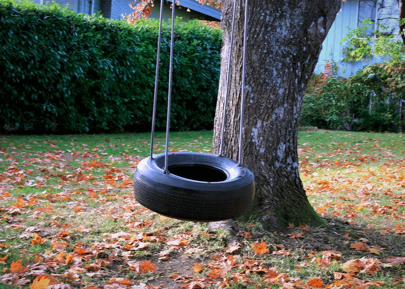 A classic garden tyre swing