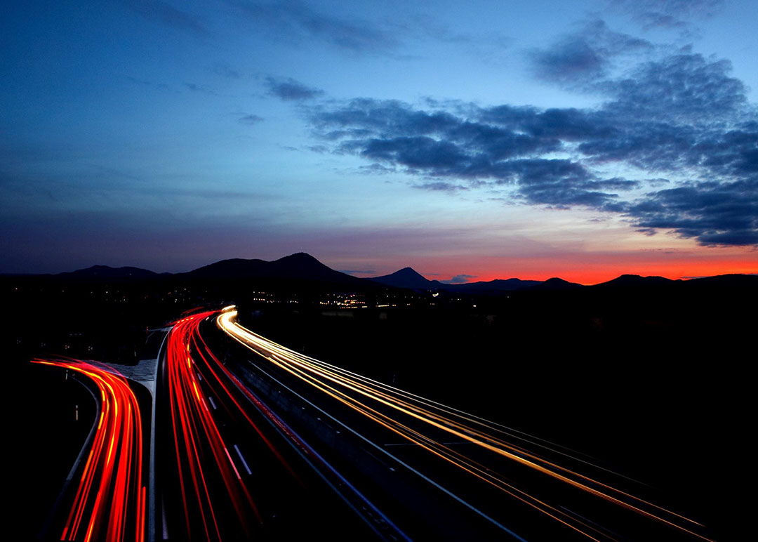 Motorway at Night in the UK