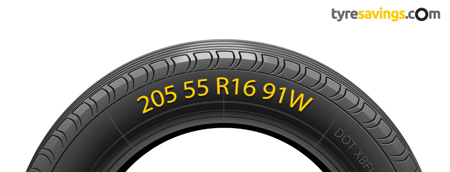 Tyre with Tyre Size and information highlighted