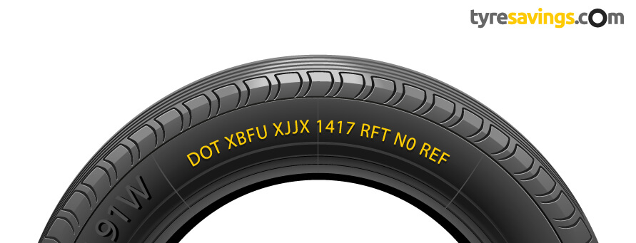 Tyre with Date of Manufacture and other informtion highlighted